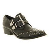 Office Edgy 2 buckle Black leather silver s...