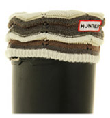 Hunter Fleece welly socks Zig zag cuff brown neu...