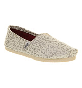 Toms Seasonal classic slip on Silver snow leopard